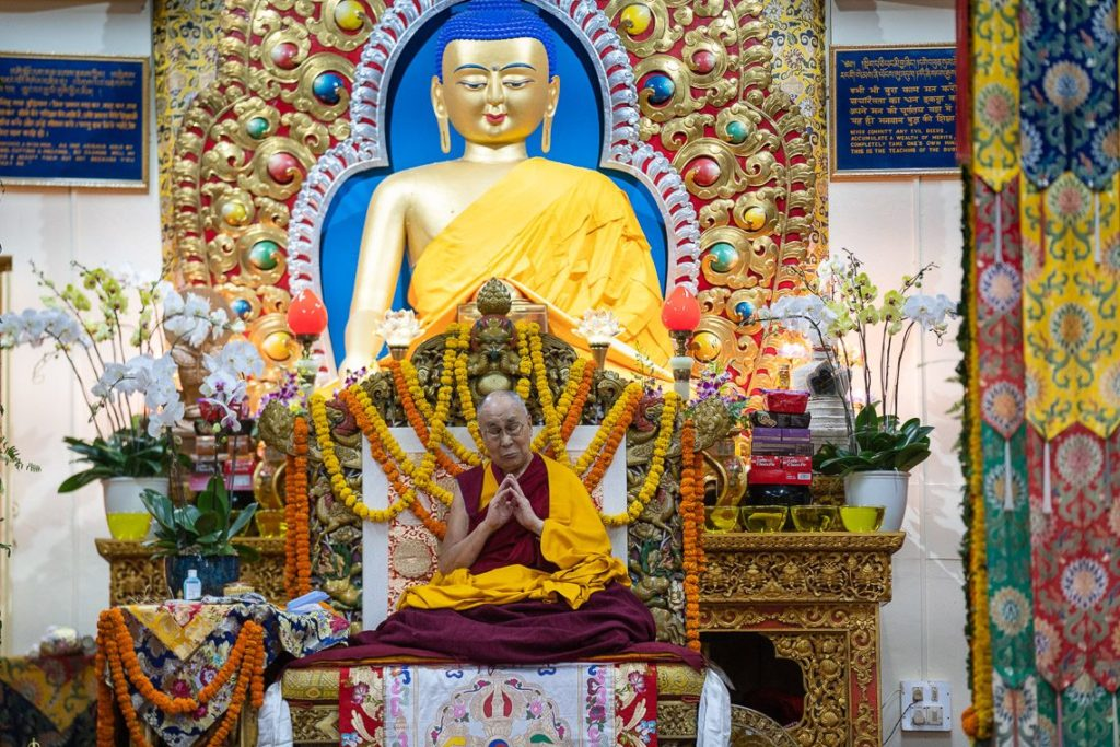 His Holiness the Dalai Lama praying at the beginning of the long life prayer (Tenshug) for His Holiness at the main temple in Mcleod Ganj, on 3 September 2018.